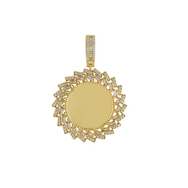 2 CT. Baguette And Round Diamond Picture Frame Pendant By Fehu Jewel