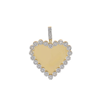 Flower Cluster Border Heart Shape Photo Pendant With 1 Ct. Round Diamond By Fehu Jewel