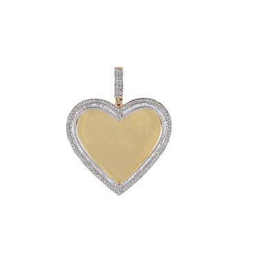 BAGUETTE & ROUND Diamond Border  Heart Shape  Photo Pendant  With 7/8 CT Round Diamond By Fehu Jewel