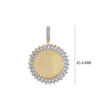 Diamond Cuban Chain Border Round Shape  Photo Pendant  With 7/8 CT Round Diamond By Fehu Jewel
