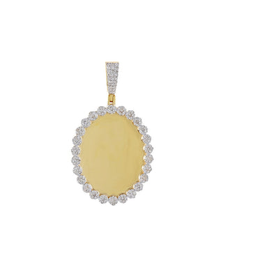 1 CT. Round Diamond Oval Shape Photo Pendant By Fehu Jewel