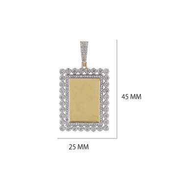 Rectangle Shape Thick Border Photo Pendant  With 1-1/2 CT Round Diamond By Fehu Jewel