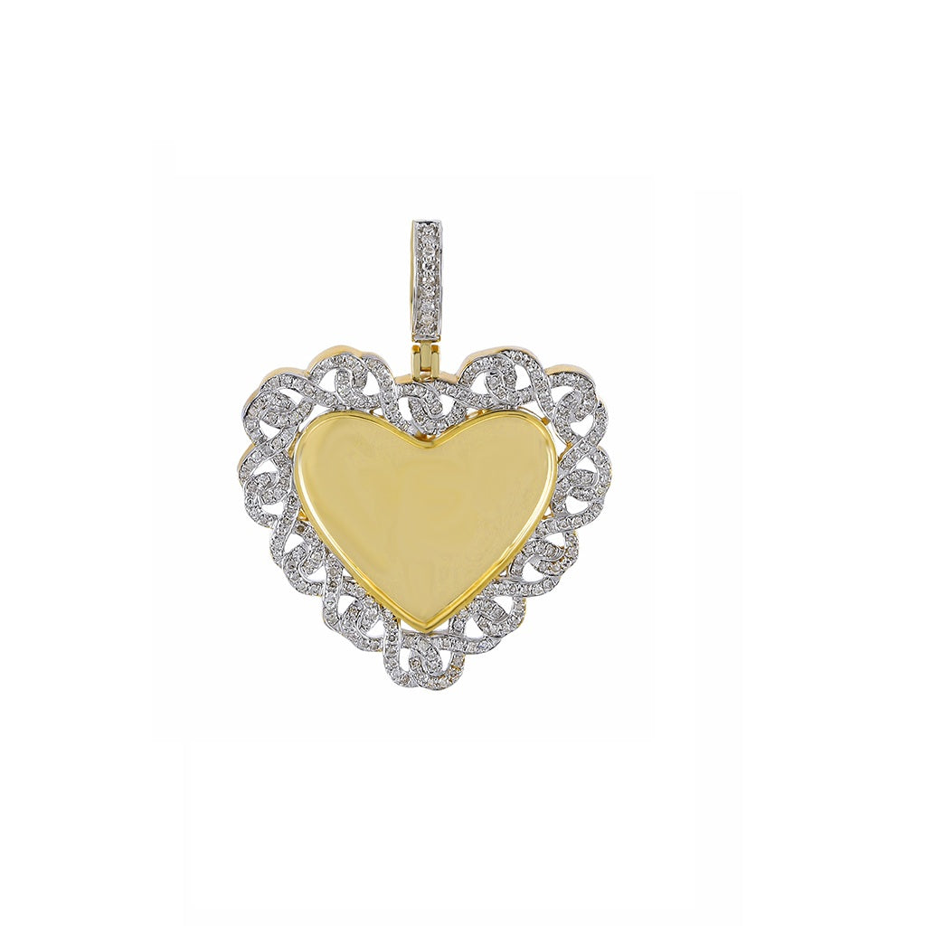 Heart Shape(Link Chain Design Border) Photo Pendant  With 5/8 CT Round Diamond By Fehu Jewel
