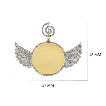 Angel Wings Photo Pendant With 1 CT.  Round Diamond By Fehu Jewel