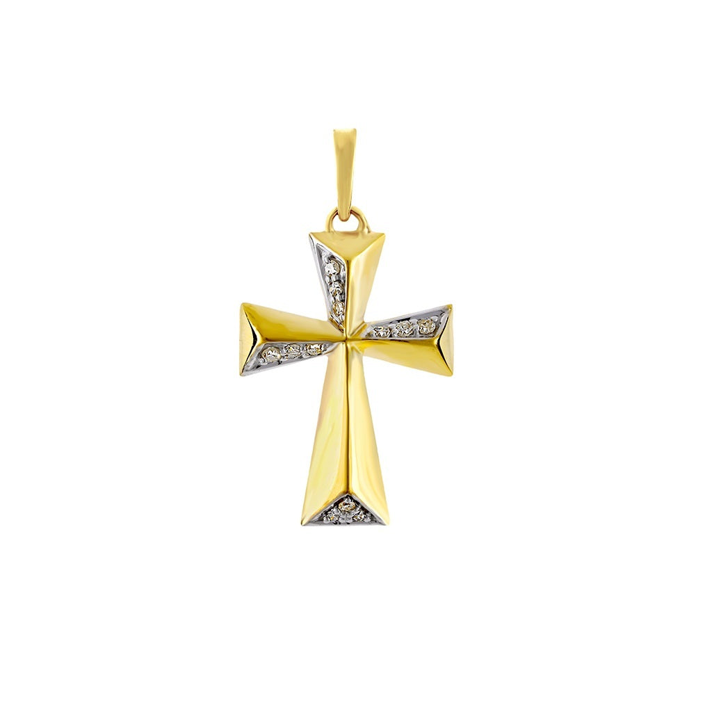 Fancy Cross Pendant Yellow Gold by FEHU