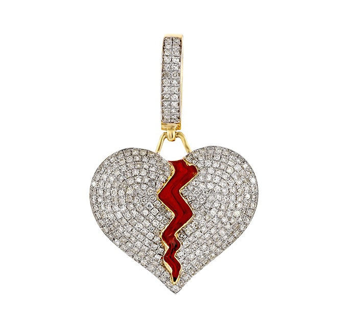 1.15ct  Diamond Heart Pendant 10k Gold For Women