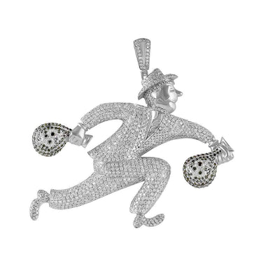 Running Man with Money Bag Pendant for Men white gold