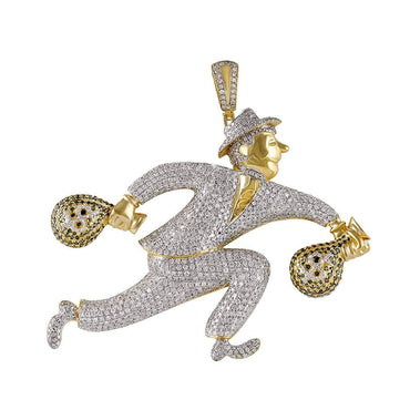 Running Man with Money Bag Pendant for Men yellow gold