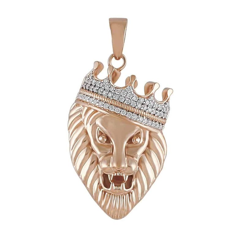 Diamond Crown Head Lion Pendant for Men rose gold