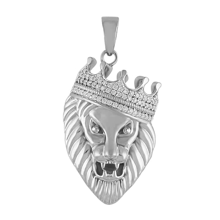 Diamond Crown Head Lion Pendant for Men white gold