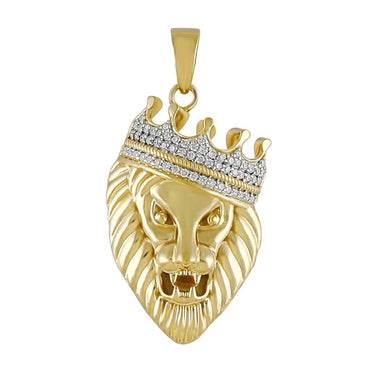 Diamond Crown Head Lion Pendant for Men yellow gold