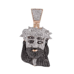Iced Out Jesus Face Pendant rose gold