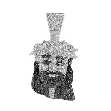 Iced Out Jesus Face Pendant white gold