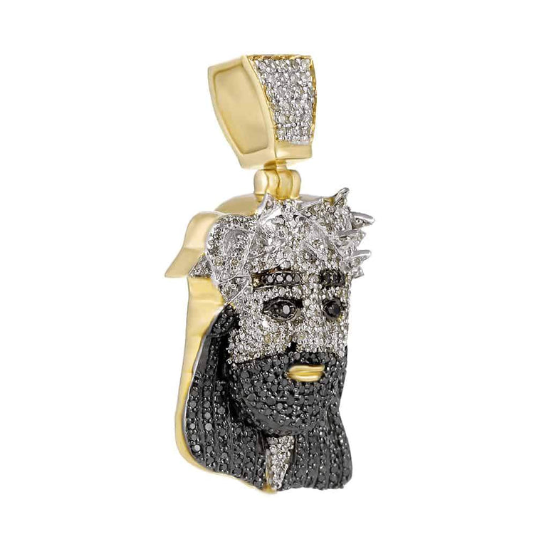 Iced Out Jesus Face Pendant yellow gold