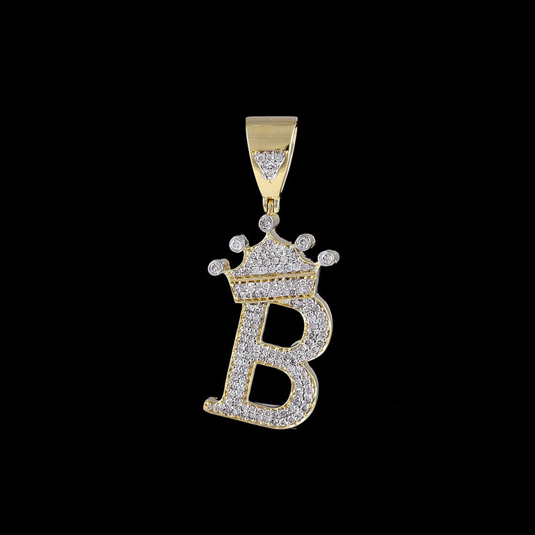 Yellow Gold Diamond Crown Initial  Letter A to Z  Pendant