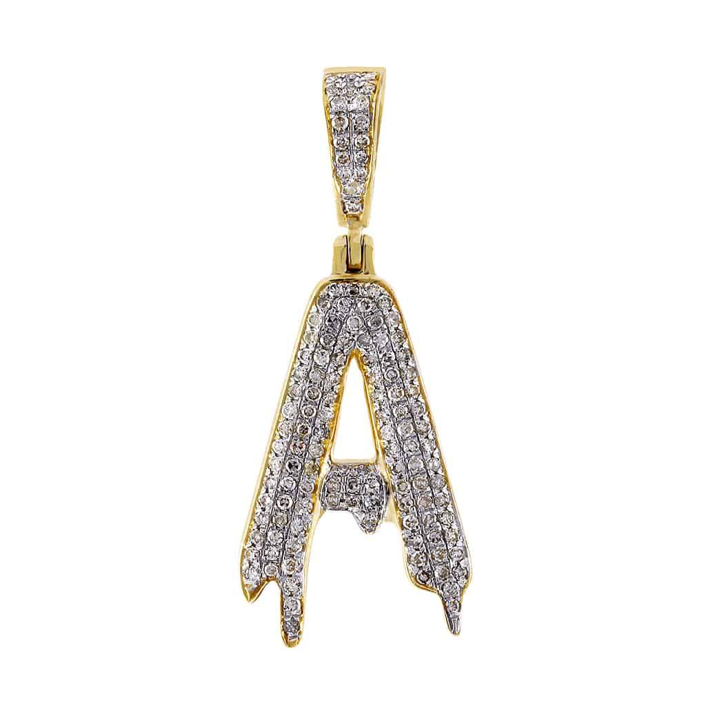 Dripping Initial A Pendant yellow gold