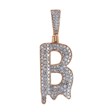 Dripping Initial B Pendant rose gold