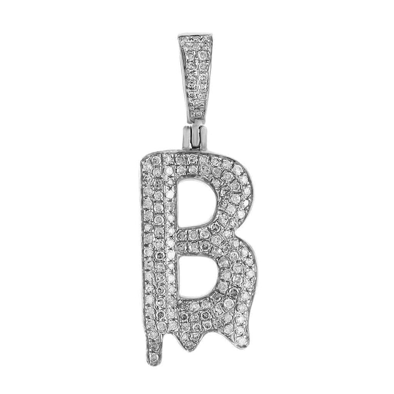 Dripping Initial B Pendant white gold