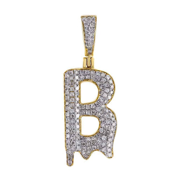 Dripping Initial B Pendant yellow gold