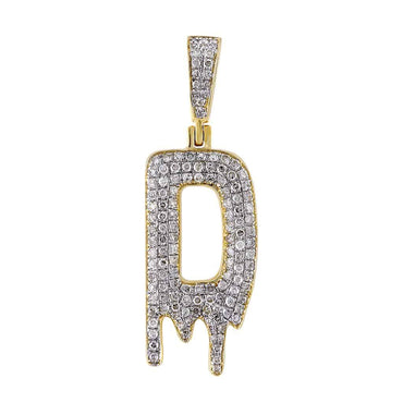 Dripping Initial D Pendant yellow gold
