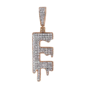 Dripping Initial E Pendant rose gold