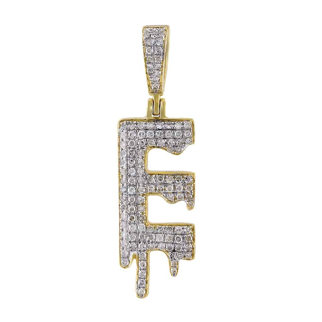 Dripping Initial E Pendant yellow gold