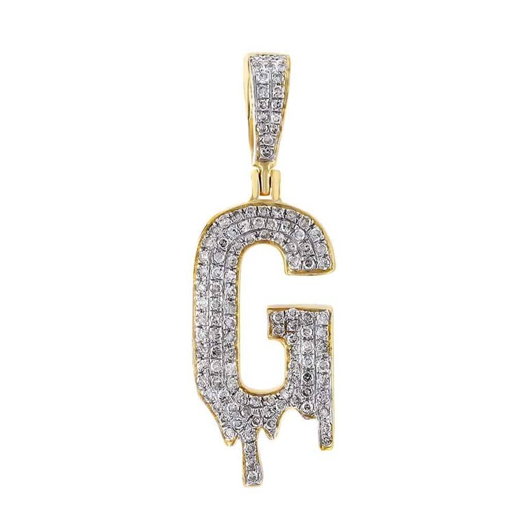 Dripping Initial G Pendant yellow gold