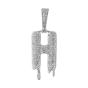 Dripping Initial H Pendant white gold