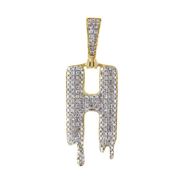 Dripping Initial H Pendant yellow gold