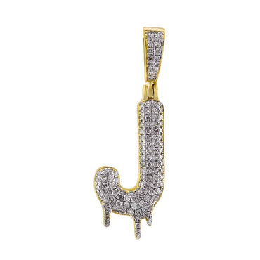 Dripping Initial J Pendant yellow gold