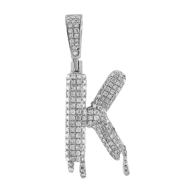 Dripping Initial K Pendant white gold