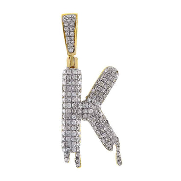 Dripping Initial K Pendant yellow gold