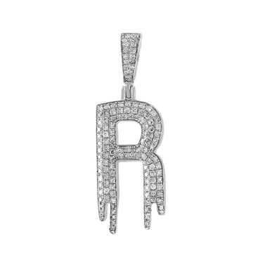 Dripping Initial R Pendant white gold