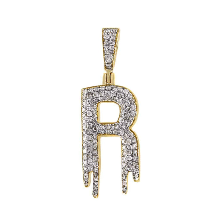 Dripping Initial R Pendant yellow gold