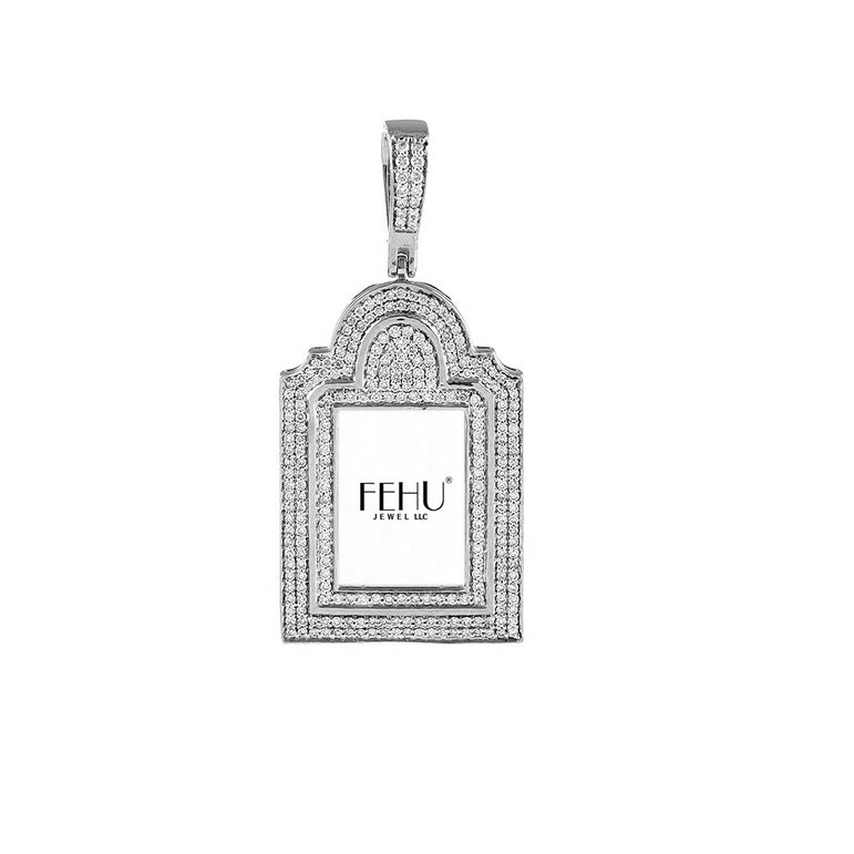 Silver Diamond Picture Frame pendants