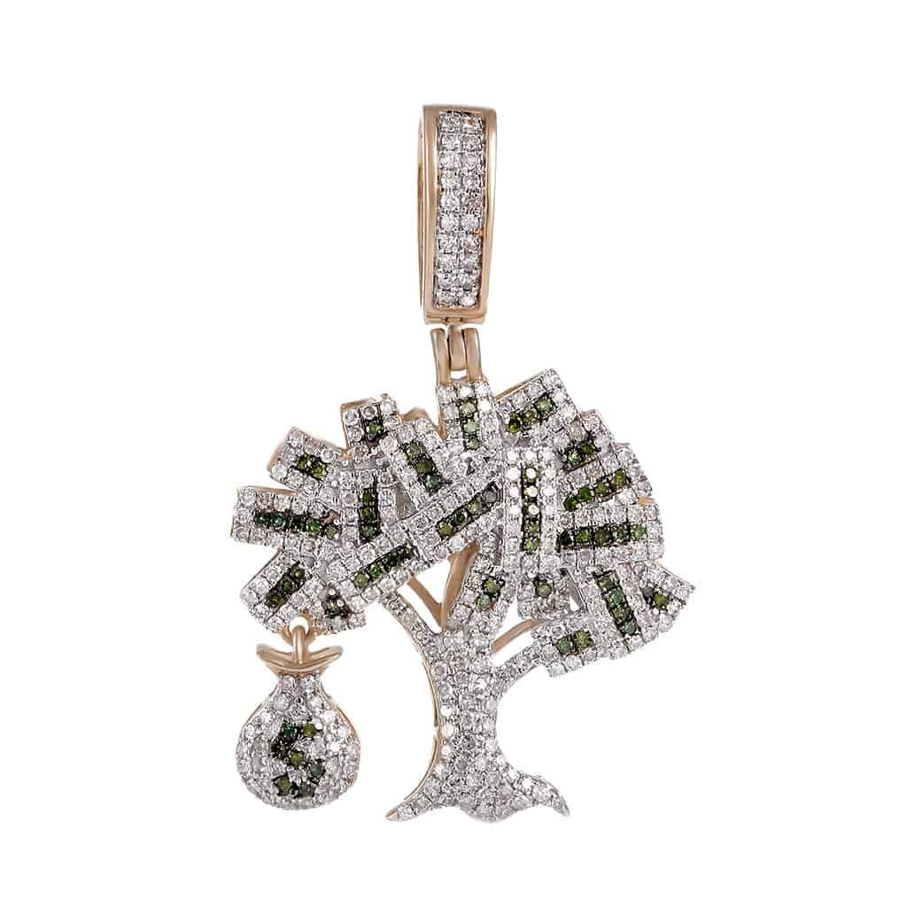 Iced Out Money Tree Pendant rose gold