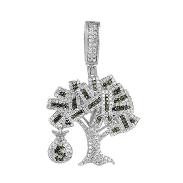 Iced Out Money Tree Pendant white gold