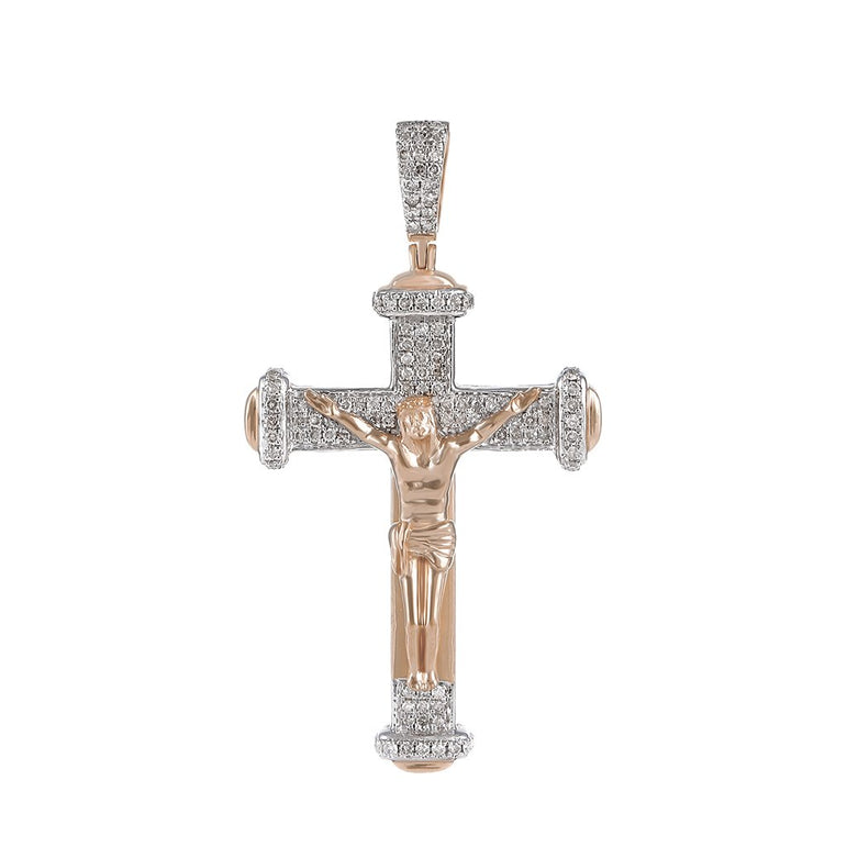 Men's Diamond Crucifix Cross Pendant rose gold