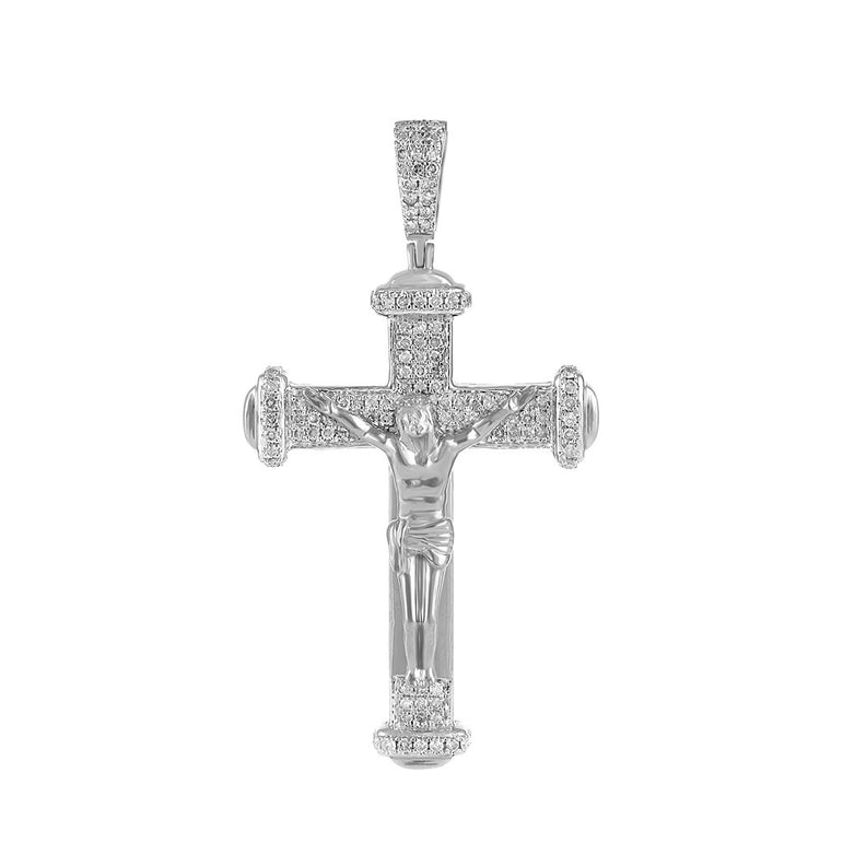 Men's Diamond Crucifix Cross Pendant white gold