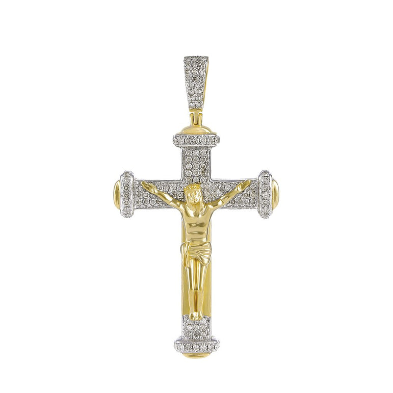 Men's Diamond Crucifix Cross Pendant yellow gold