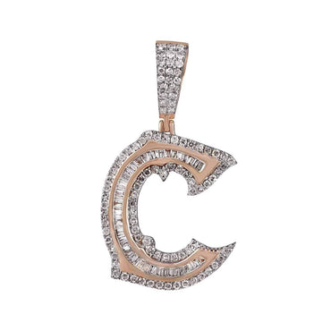 C Initial Baguette and Round Diamond Pendant 14k Gold by Fehu Jewel