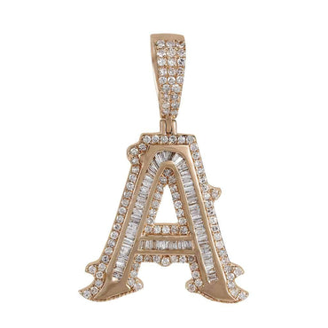 Rose gold A Initial Baguette and Round Diamond Pendant