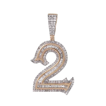 Number Two Initial Necklace Pendant rose gold