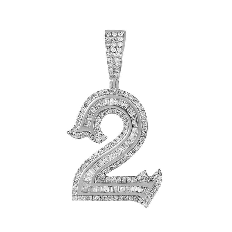 Number Two Initial Necklace Pendant white gold