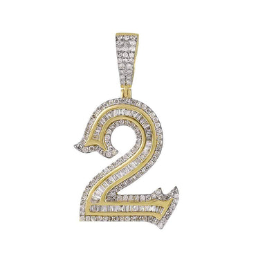Number Two Initial Necklace Pendant yellow gold