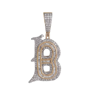 B Initial Baguette and Round Diamond Pendant rose gold