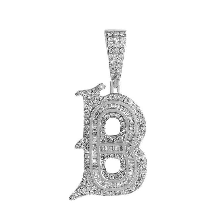 B Initial Baguette and Round Diamond Pendant white gold