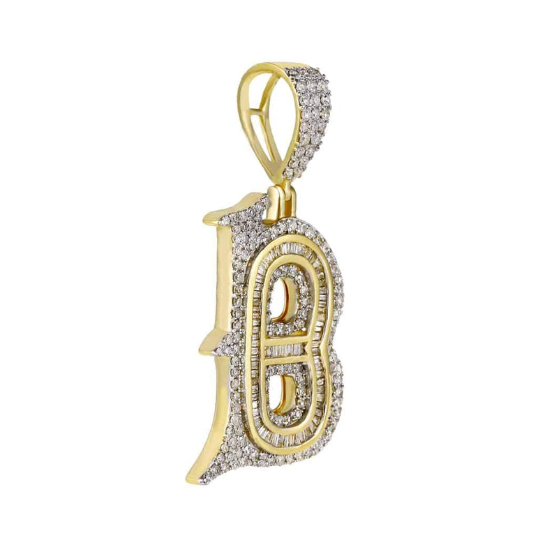 B Initial Baguette and Round Diamond Pendant yellow gold
