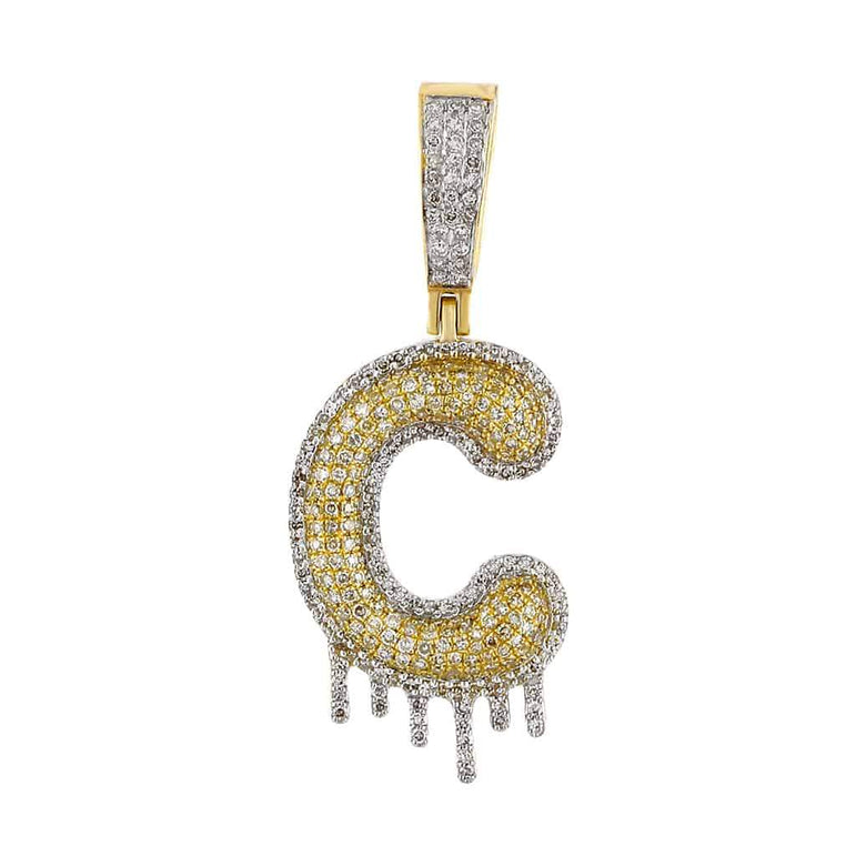 Dripping Initial C Pendant yellow gold