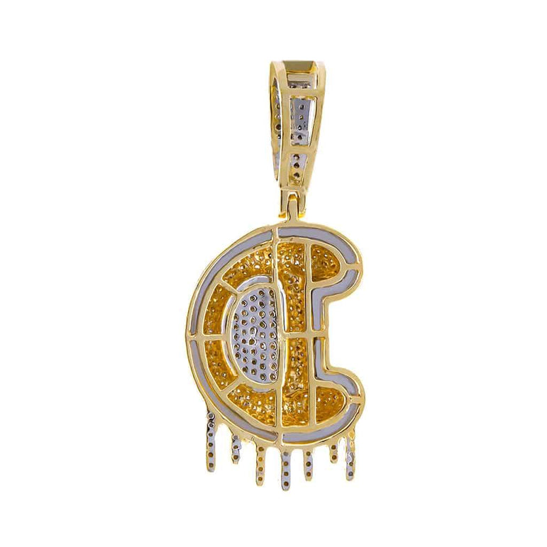 Two-Tone Dripping Initial D Bubble Letter Pendant yellow gold